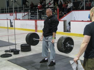 Alex Possamai of CrossFit Bolton at the Eastern Qualifyers deadlifting 505lbs